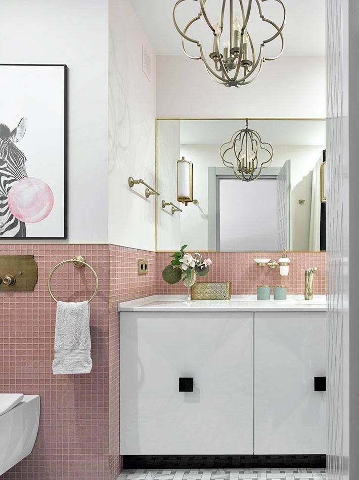 пудровый розовый цвет для оформления ванной комнаты