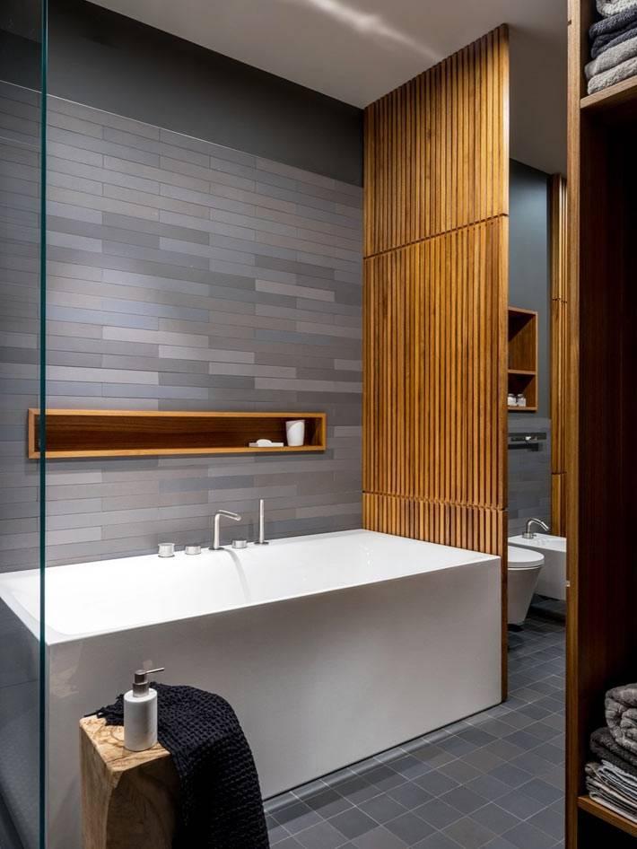 деревянная перегородка для раздела ванной зоны от туалета