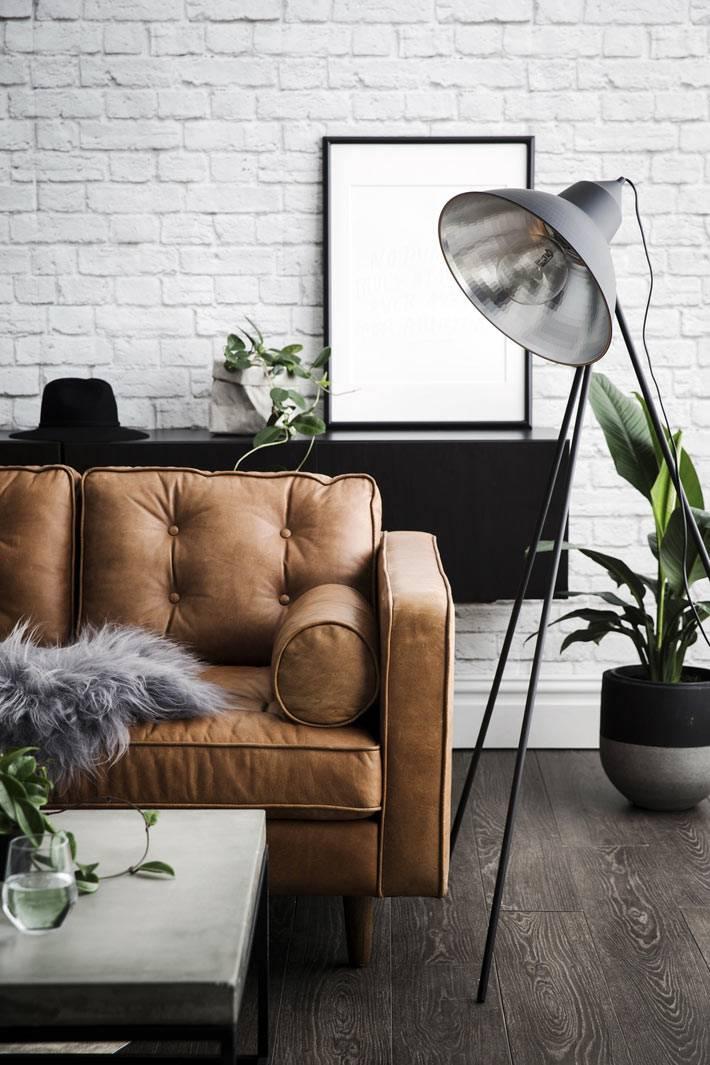 трендовый интерьер гостиной в промышленном стиле фото