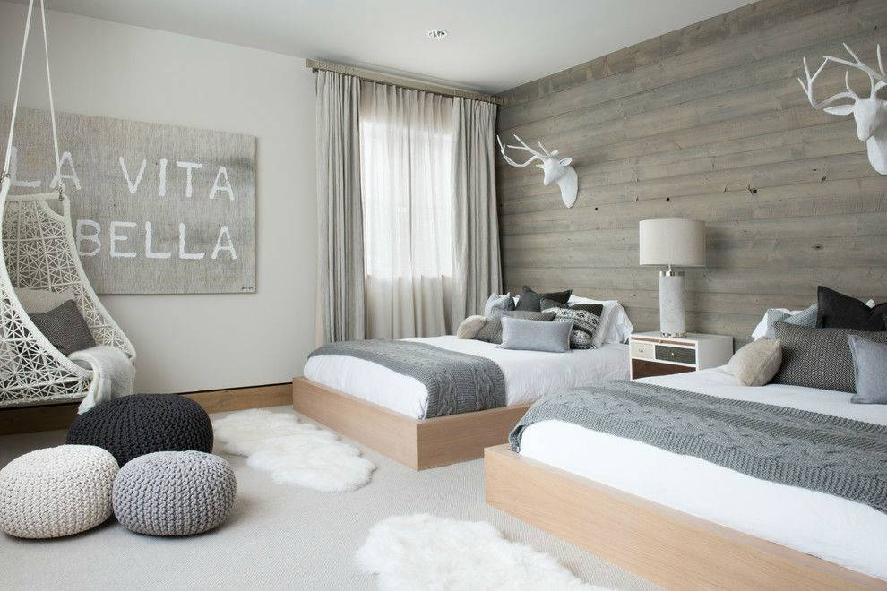 50 оттенков серого в интерьере детской спальни для подростков