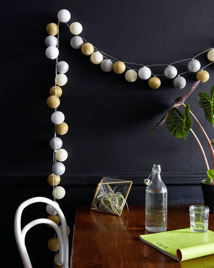 красивая белая гирлянда из хлопкоых нитей на черной стене фото