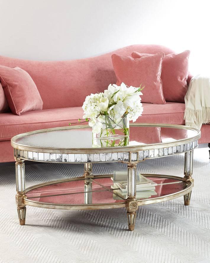 минимализм в нежных оттенках - женственный интерьер и овальный столик