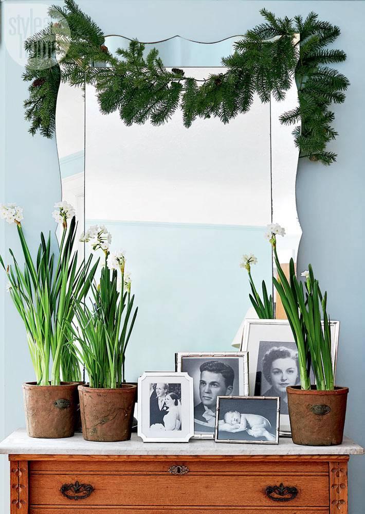елочная гирлянда и цветы в горшках украшают зеркало на комоде