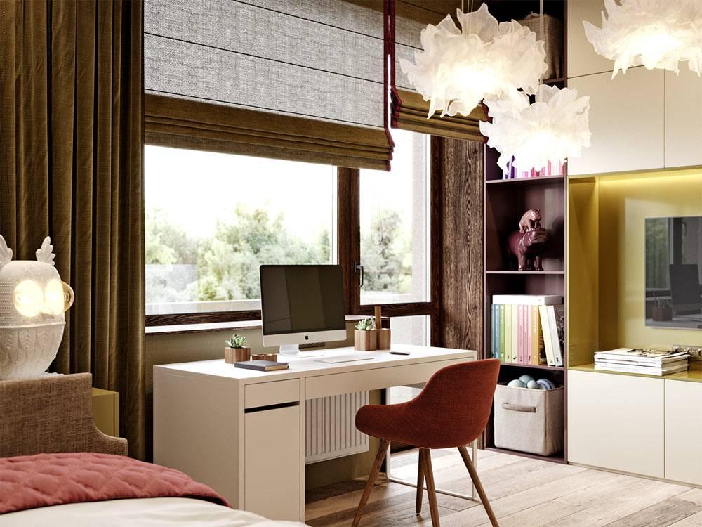 белый письменный стол возле окна с коричневыми шторами в детской