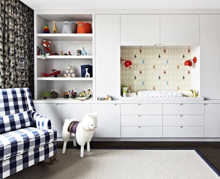 белый встроенный шкаф с пеленальным столиком фото