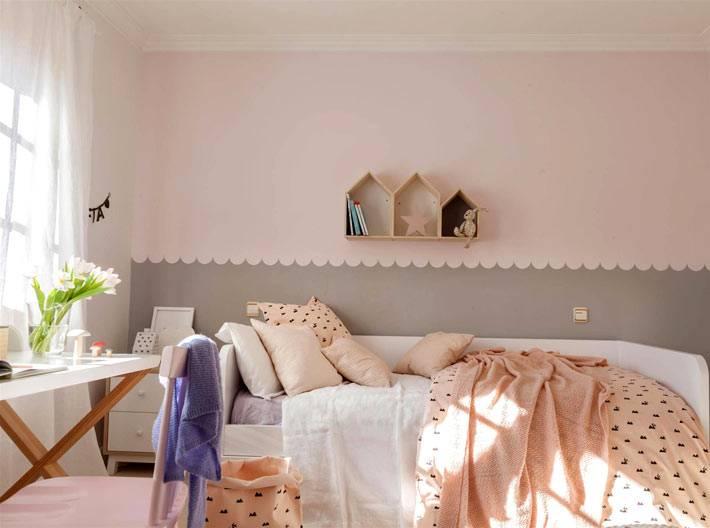 пудровые оттенки в интерьере детской комнаты для девочки