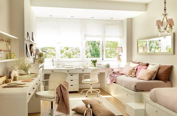 молочные цвета в дизайне детской комнаты для двоих детей