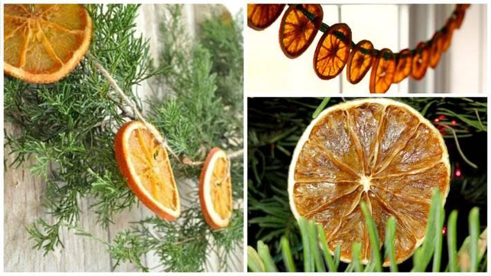 гирлянда на ёлку из засушенных апельсиновых долек