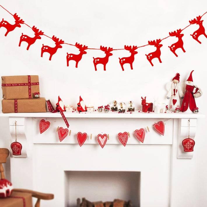 новогодние гирлянды из бумаги - фигурки оленей и сердечки