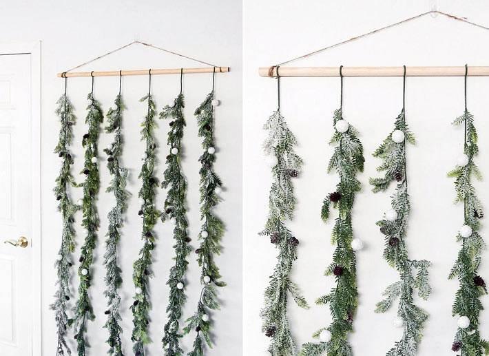 необычный подход для развешивания гирлянды в комнате на стене
