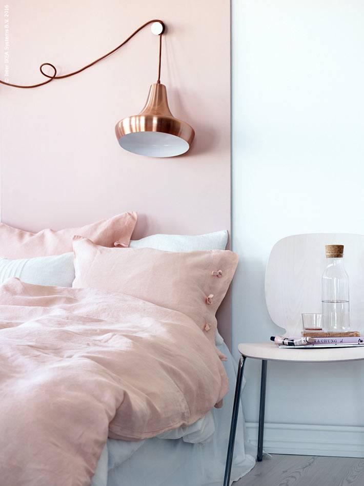 женственный цвет розового золота для нежного интерьера спальни