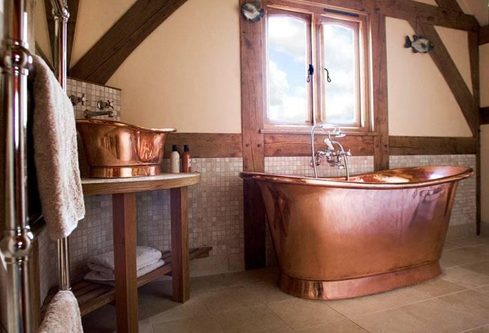 медная сантехника для красивого интерьера ванной комнаты