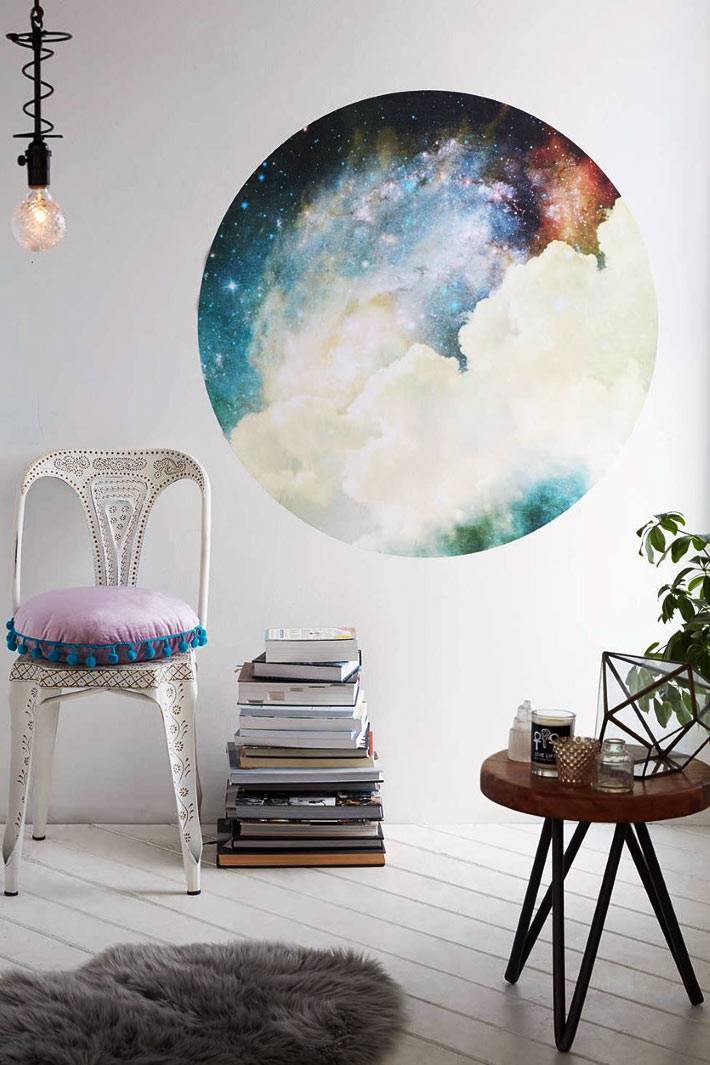 рисунок земного шара на белой стене в доме