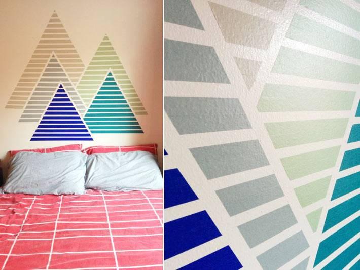 как самостоятельно разрисовать стену комнаты фото