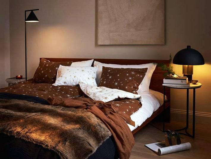 новогоднее постельное бельё - текстиль коричневого цвета со звёздами