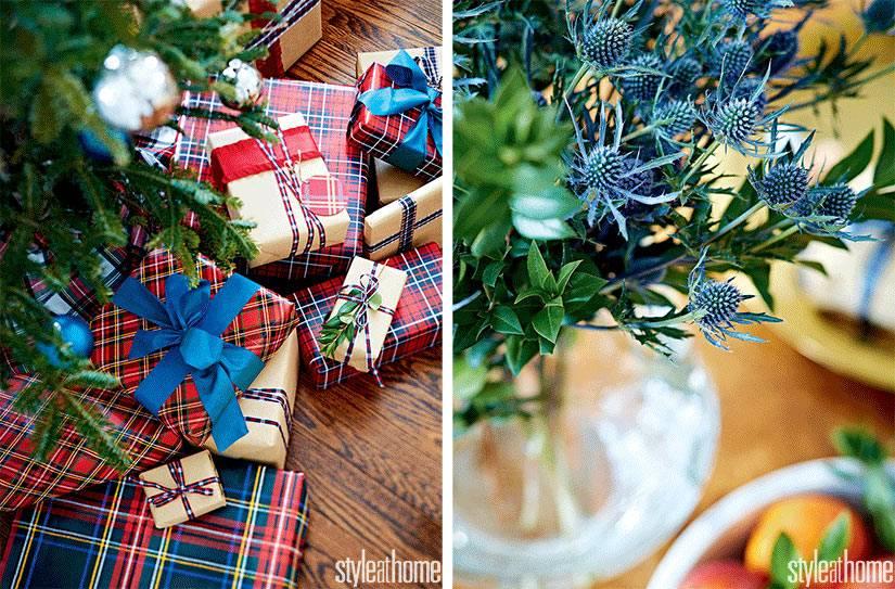 новогодняя мишура и красиво упакованные подарки
