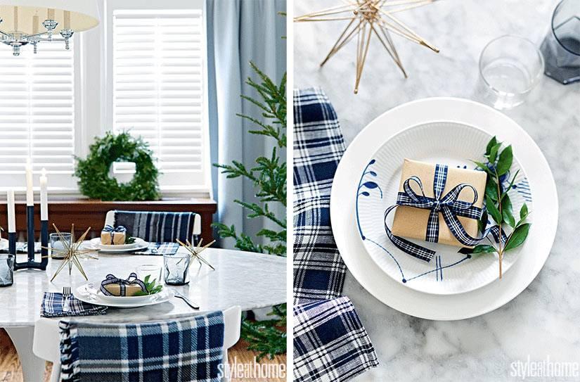 текстиль в клетку для уютных домашних посиделок за праздничным столом