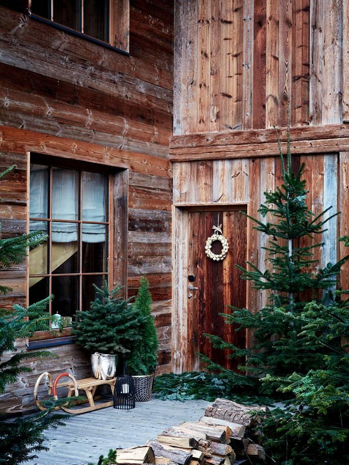 внутренний двор с ёлками, санками и дровами