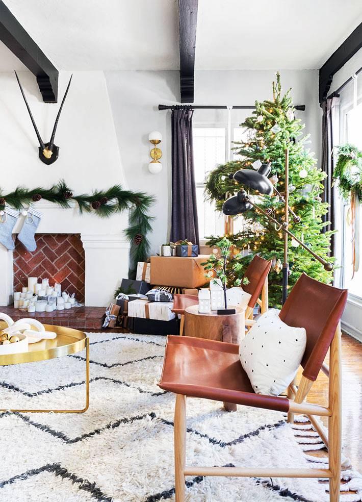 новогодний интерьер дома в американском стиле фото