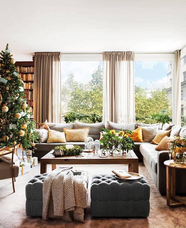 испанский новогодний интерьер гостиной комнаты