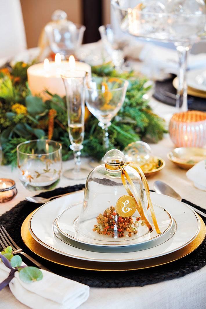 тарелки с золотой каёмкой для украшения новогоднего стола