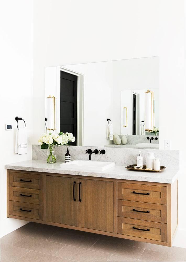 черные матовые краны и фурнитура в ванной комнате