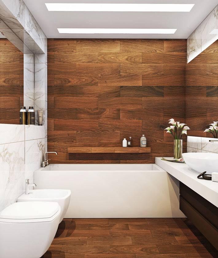 обшивка стен деревянными досками в ванной комнате фото