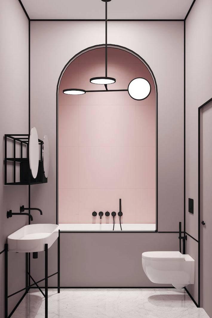 лиловая ванная комната с четкими линиями в стиле ар-деко