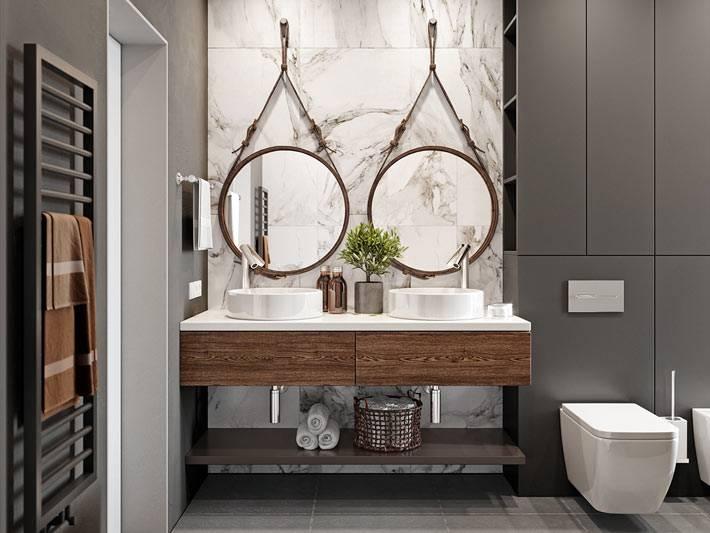 двойной умывальник на одной столешнице в ванной комнате