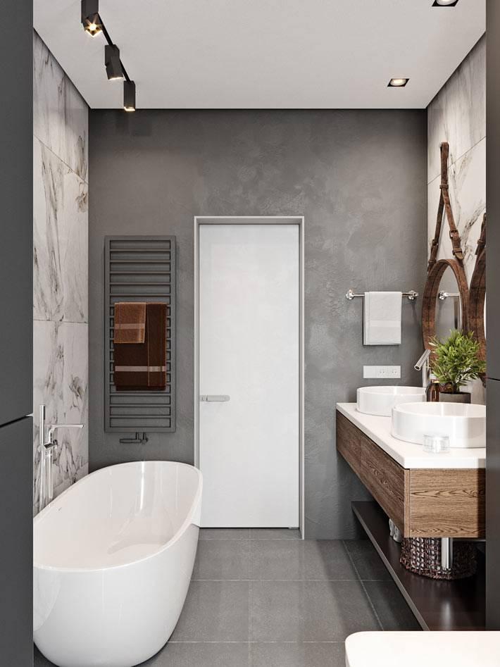 контрастное сочетание фактур в дизайне ванной комнаты