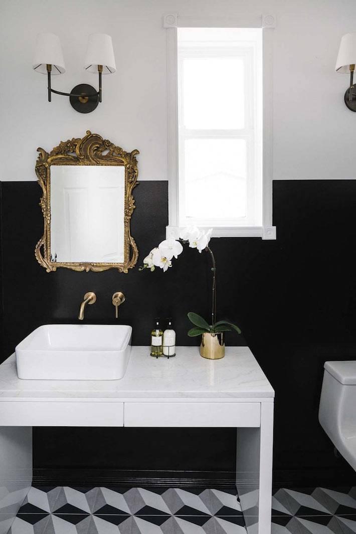 как покрасить стены в ванной комнате - черный и белый цвет