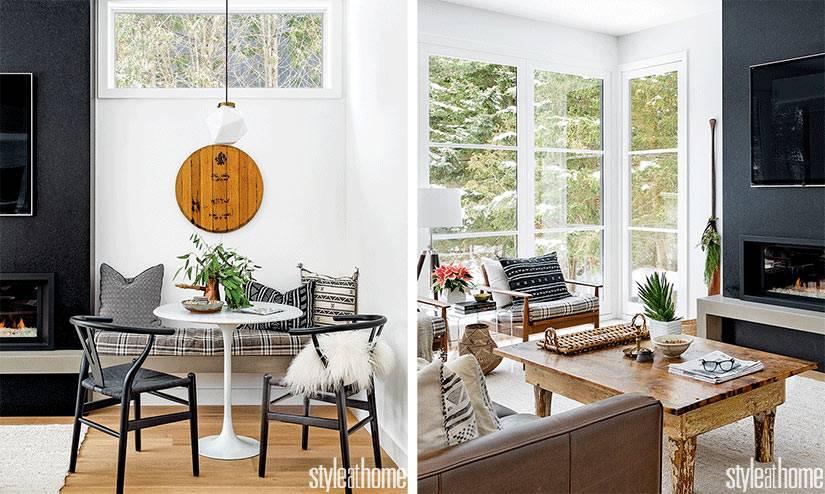 современный дизайн гостиной с камином и панорамными окнами