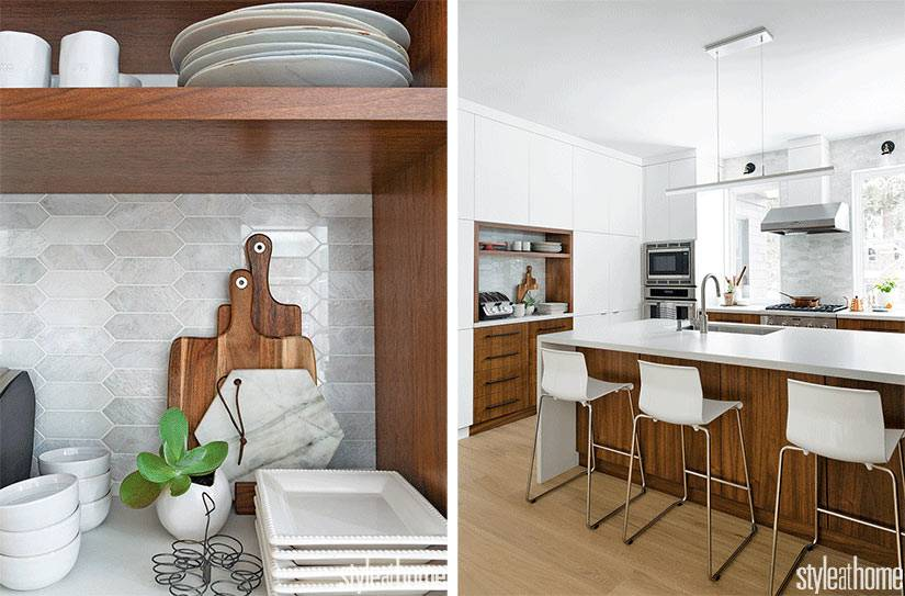 открытые полки для кухонной утвари и большой остров на кухне