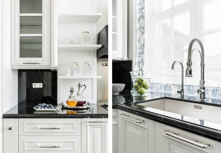 большая раковина с краном напротив окна кухни фото