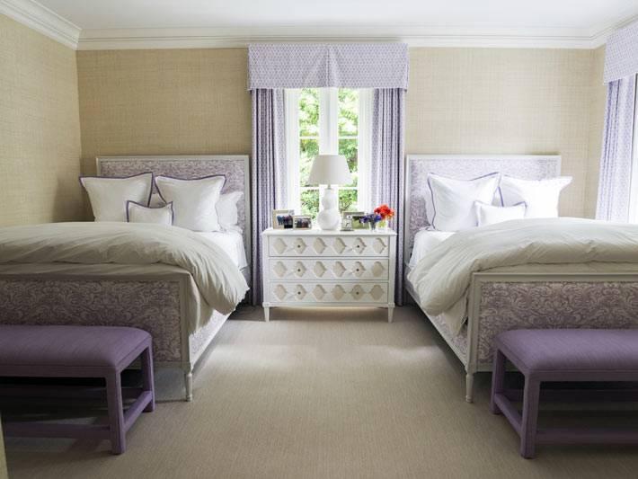 нежно лиловый цвет в оформлении детской комнаты для двоих детей