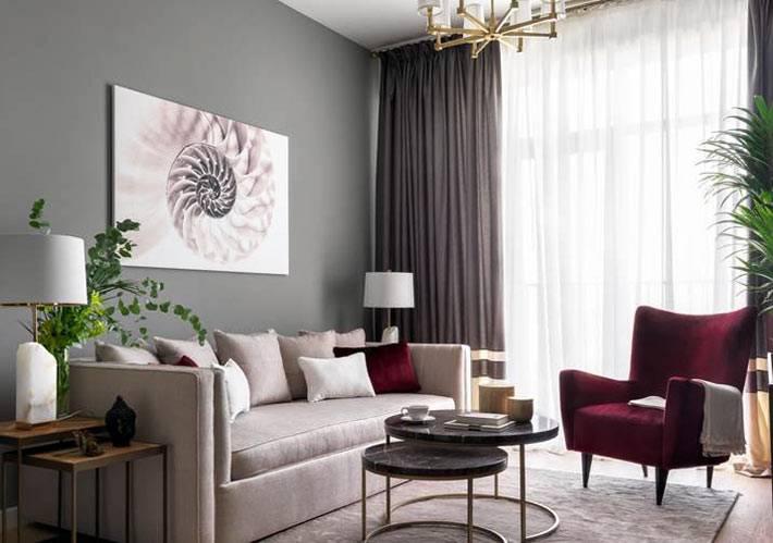 матовый серый цвет стен в комнате и насыщенное бардовое кресло фото