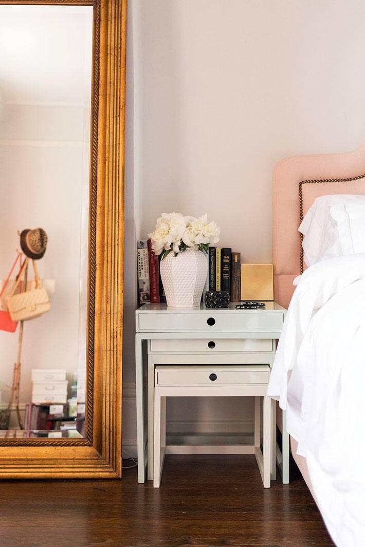 напольное зеркало во весь рост в винтажной раме для спальни