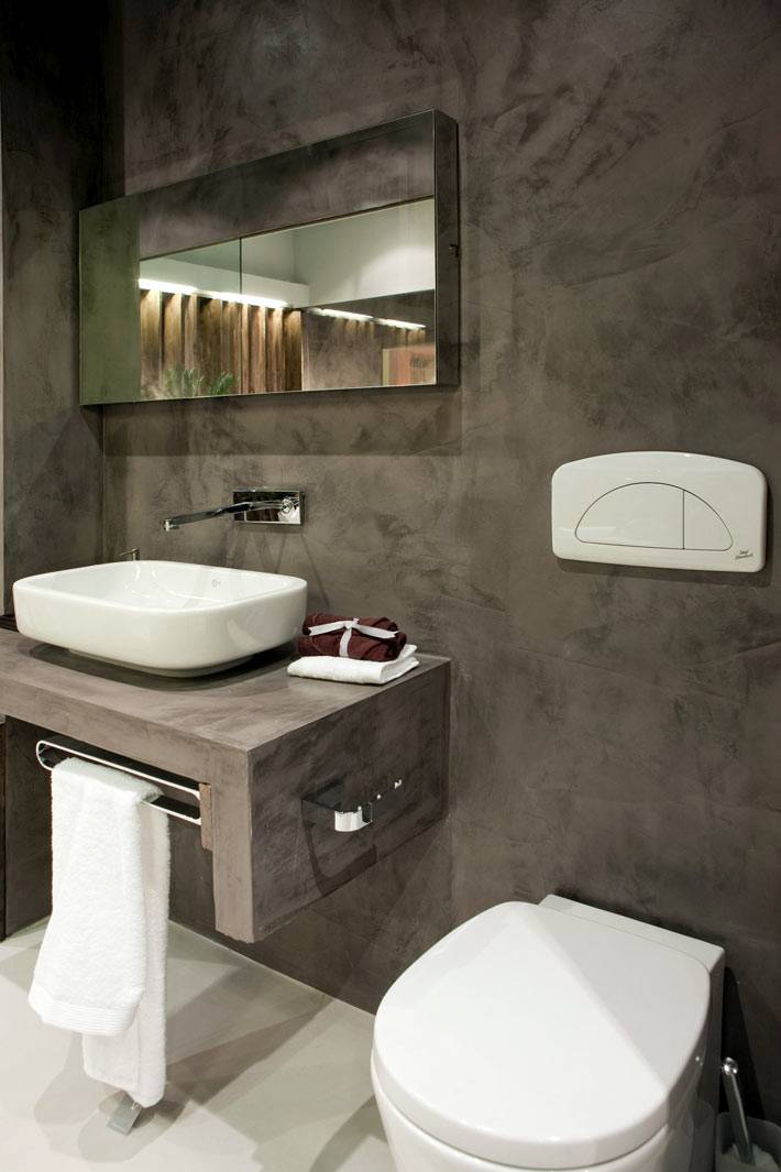 цементная отделка стен в дизайне санузла фото