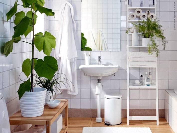 белое пространство ванной комнаты разбавляют зеленые цветы