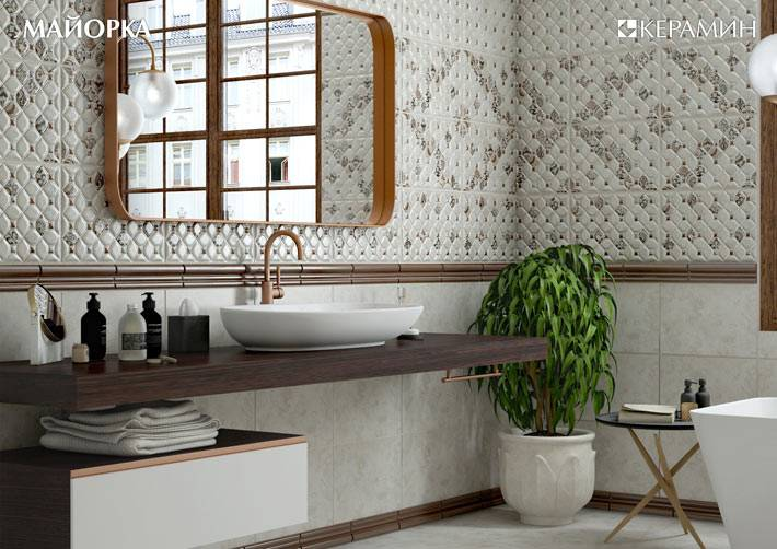 небольшой фикус станет украшением пространства ванной комнаты