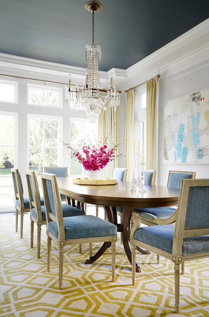 красивый классический интерьер столовой с цветным потолком