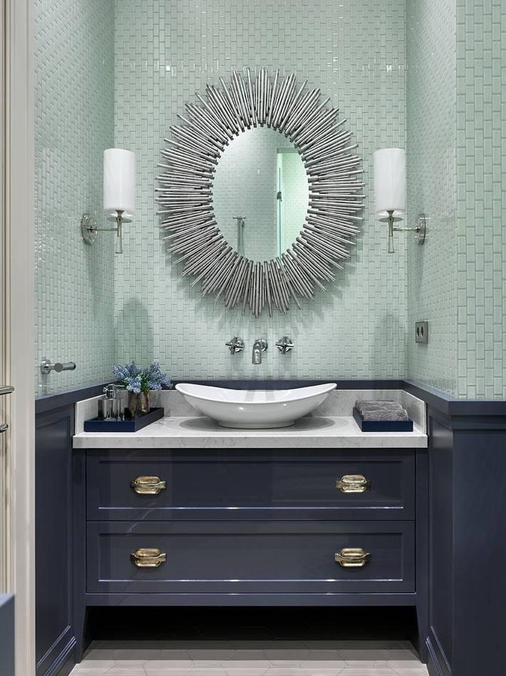 бледно бирюзовый цвет рядом с темно-синим в дизайне ванной фото