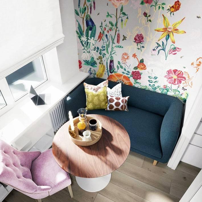 современные обои в ярких цветах для маленькой кухни в хрущевке