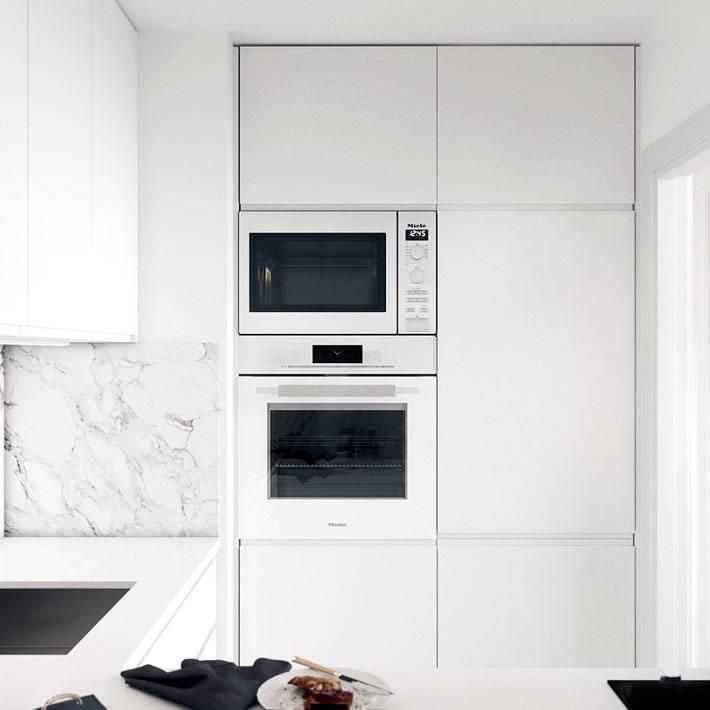 встроенная техника белого цвета на маленькой кухне