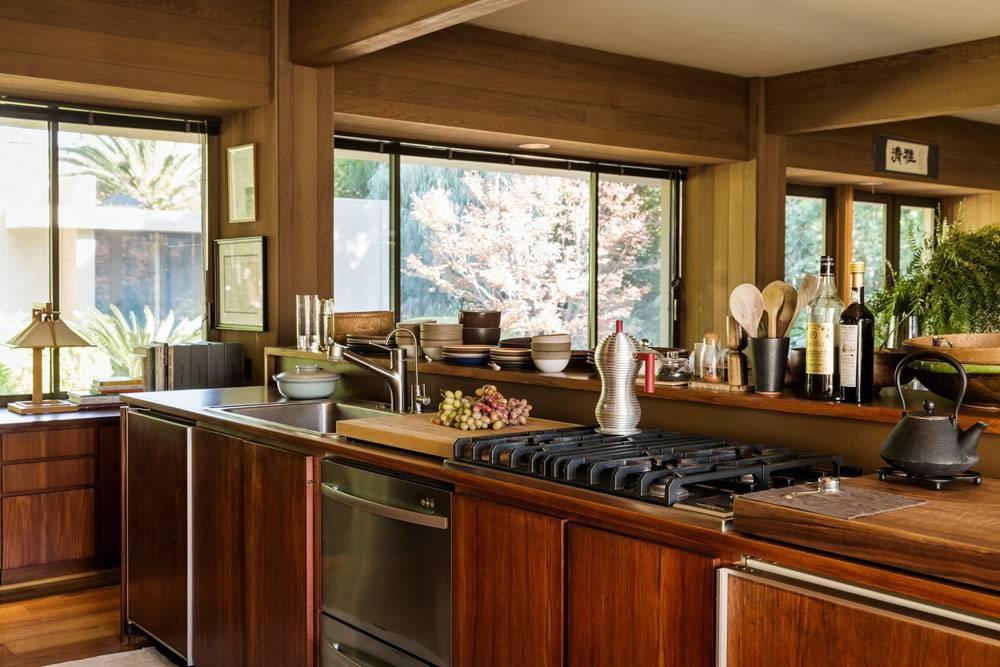 кухня открытого типа в стиле японского минимализма