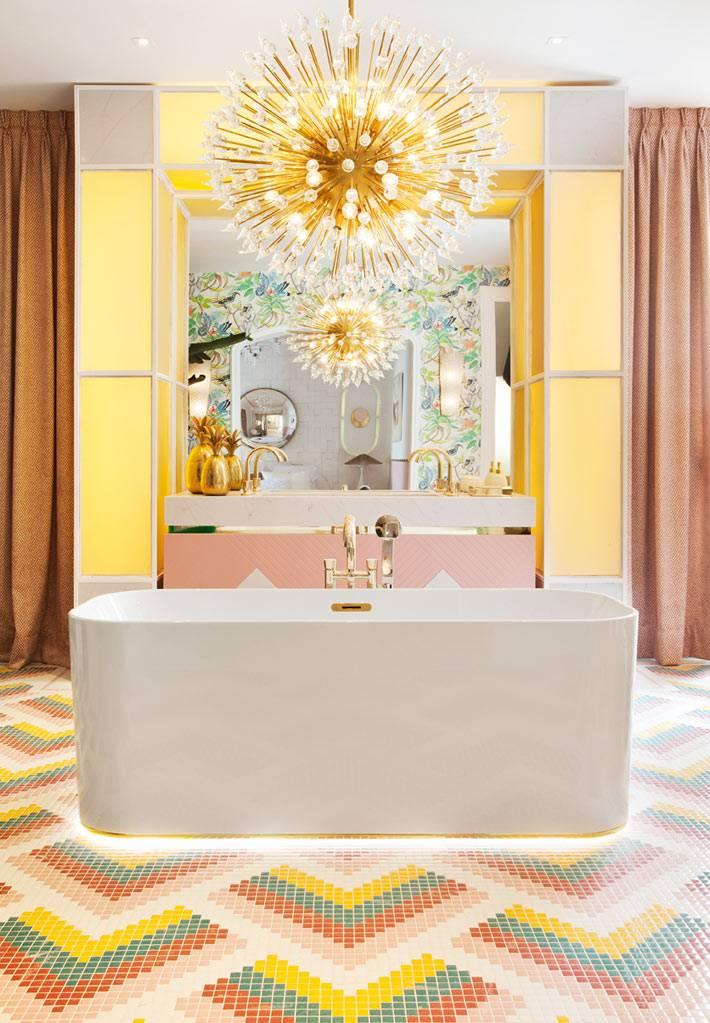 солнечный желтый интерьер ванной комнаты в стиле ар-деко