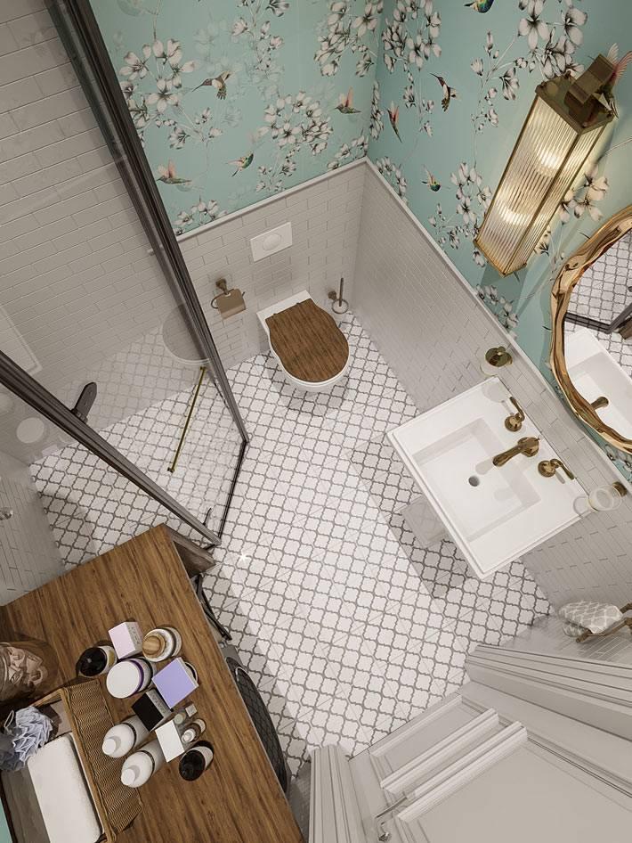 как обустроить маленькую ванную - вид сверху фото