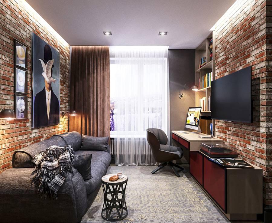 гостиная комната с кирпичными стенами из красного кирпича