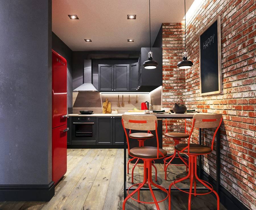 молодежный интерьер кухни с кирпичными стенами и ретро холодильником