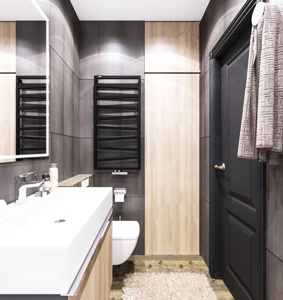 компактный интерьер ванной комнаты с туалетном